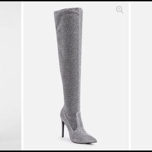Silver heel boots